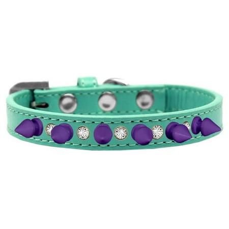 Mirage Pet 625-PR AQ14 Crystal & Purple Spikes Dog Collar, Aqua - Size 14