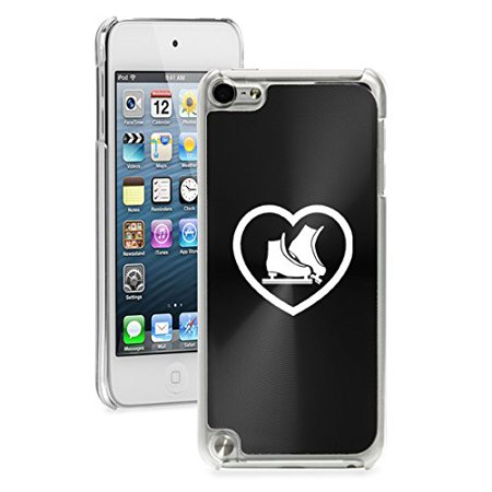 For Apple iPod Touch 5th / 6th Generation Hard Back Case Cover Heart Ice Skates (Black)