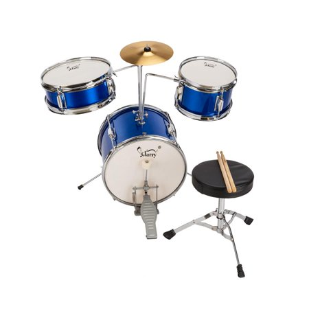 UBesGoo 3 Piece 13 inch Drum Set with Drum Sticks, Pedal, Drum Stool, Screw Wrench and Cymbal for Junior Kids, 5-Colors Available ()