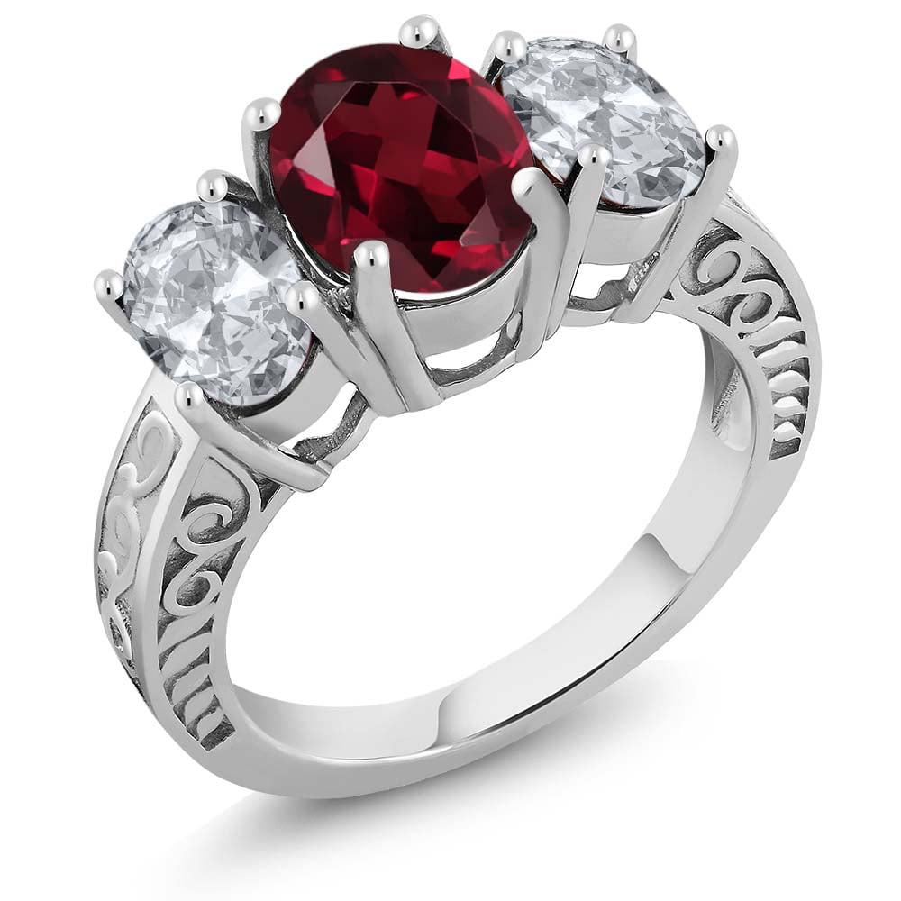 3.90 Ct Oval Red Rhodolite Garnet White Topaz 925 Sterling Silver Ring by