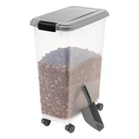 IRIS USA 35lb Airtight Sealed Pet Food Container with Scoop, Chrome