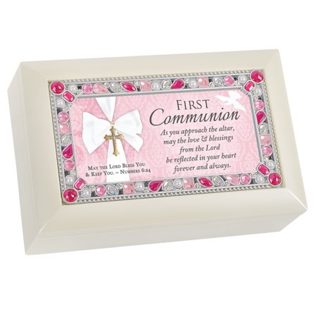 "6"" Pink and Ivory First Communion Petite Music Box"