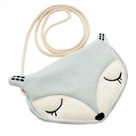 StylesILove Lovely Girl Lightweight Animal Design Shoulder Mini Coin Purse Crossbody Bag (Green Fox)
