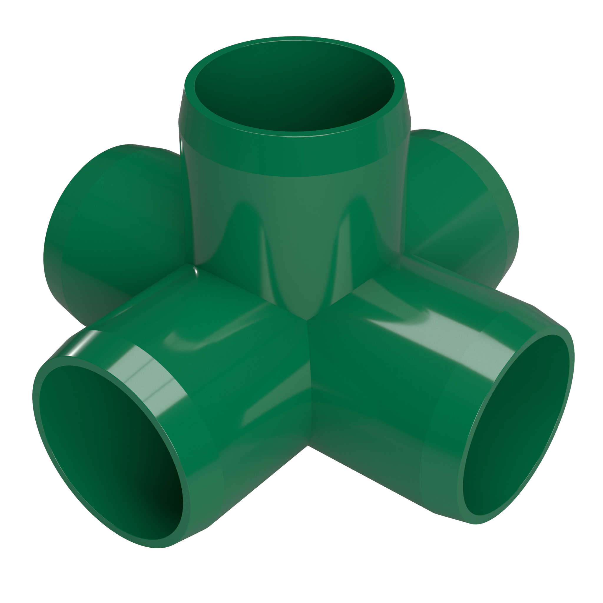 FORMUFIT F0015WC-GR-4 5-Way Cross PVC Fitting, Furniture Grade, 1 in. Size, Green, 4-Pack