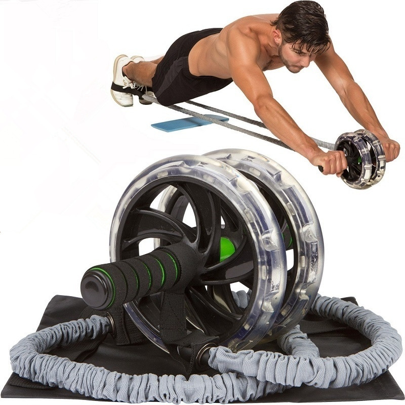 2PC Gym Ab Roller Wheel Pull Rope Waist Abdominal Slimming Fitness Equipment(wheel not included)