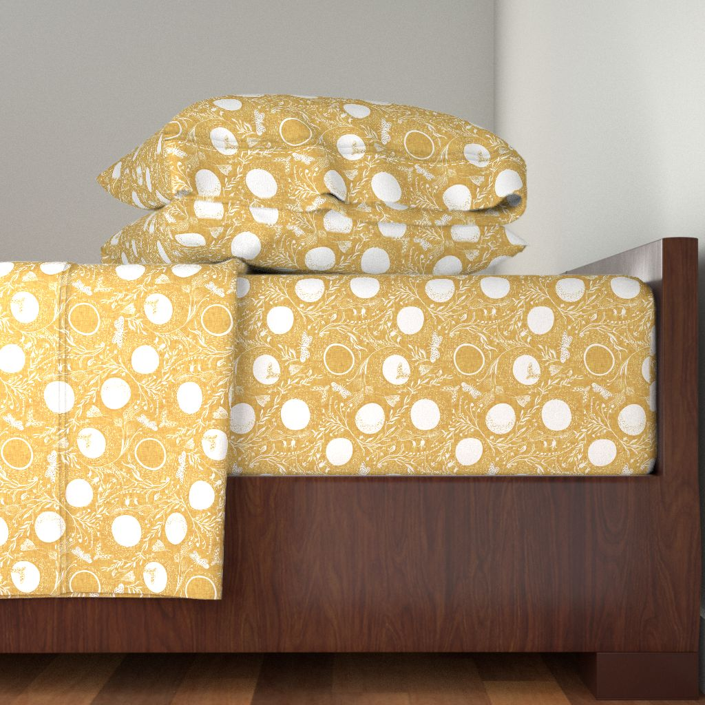 Moth Mustard Gold Yellow Moon Night 100% Cotton Sateen Sheet Set by Roostery