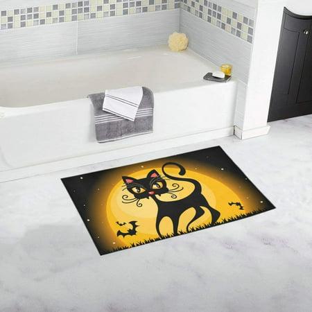CADecor Halloween Black Cat In Front Of The Full Moon Doormat Non Slip Bathroom/Floor Mats Bath Rug 30x18 inches - Halloween Front Door