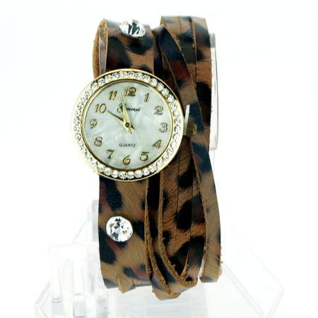 Geneva Brown Leopard Leather Bracelet Rhinestone Round Analog Quartz Wrist Watch