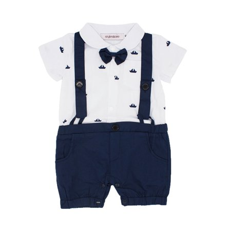 StylesILove Sailor Boat Print Faux Suspender Formal Wear Baby Boy Short Sleeve Romper (90/12-18 Months)