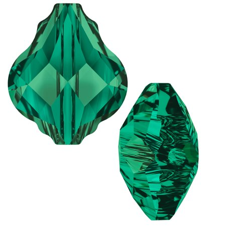 Swarovski Crystal, #5058 Baroque Bead 10mm, 2 Pieces, (Swarovski Emerald Green Crystal)