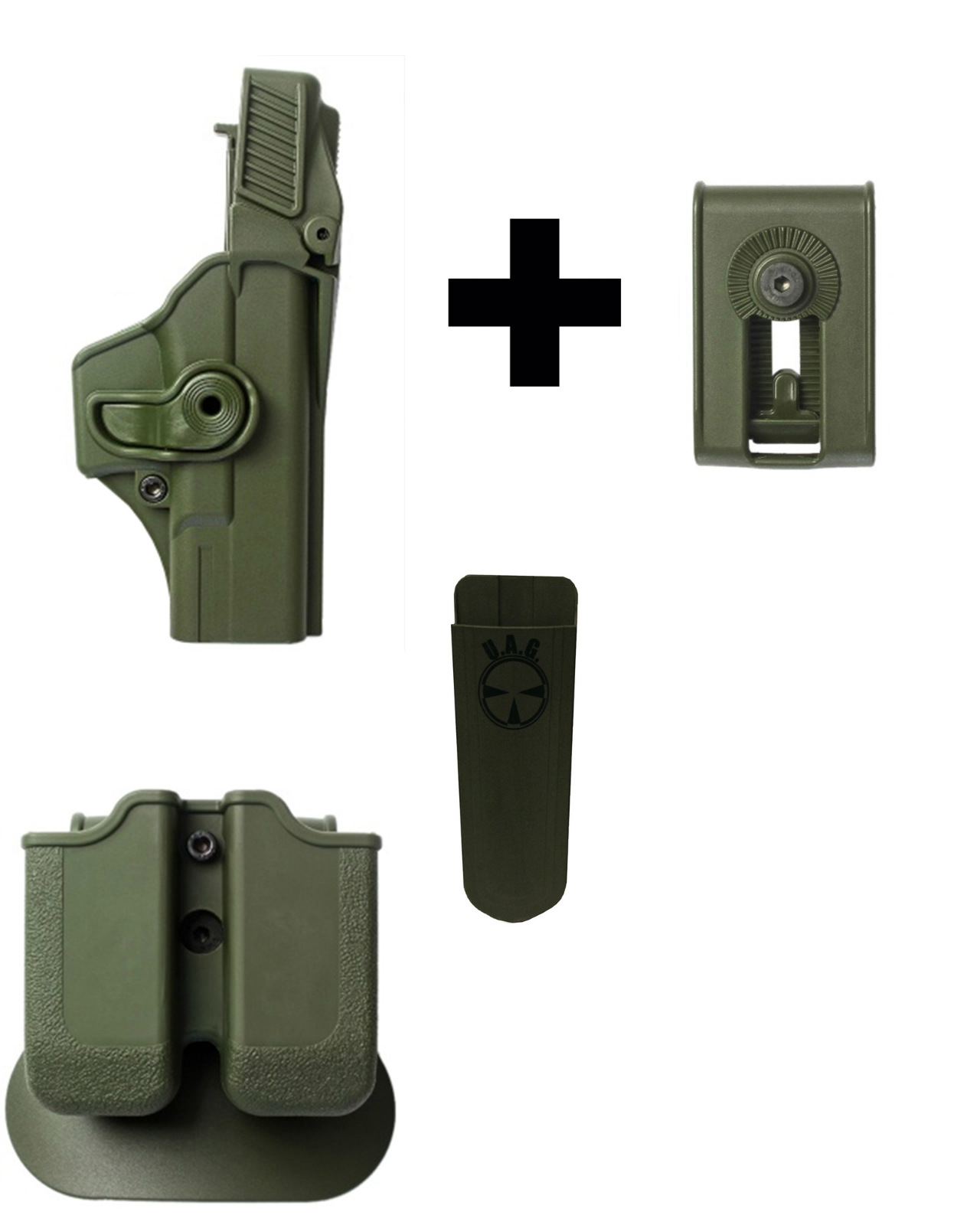 IMI Defense Z2000 MP00 Double Mag Holder & Paddle + Z1400 Level 3 360� Rotate Holster Glock 19 23 25 32 Gen 4, OD Green... by