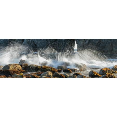 Waves breaking on rocks Harris Beach State Park Samuel H Boardman State Scenic Corridor Oregon USA Canvas Art - Panoramic Images (6 x 18)