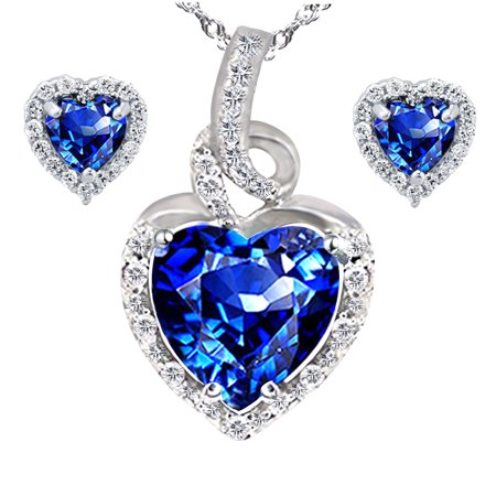 2.0 Carat TCW Heart Cut Gemstone Created Blue Sapphire 925 Sterling Silver Necklace Pendant and Earrings 3 Pieces Jewelry Set