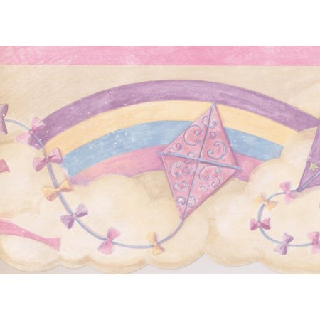 Rainbow Colorful Kites in the Clouds Retro Wallpaper Border for Kids, Roll 15