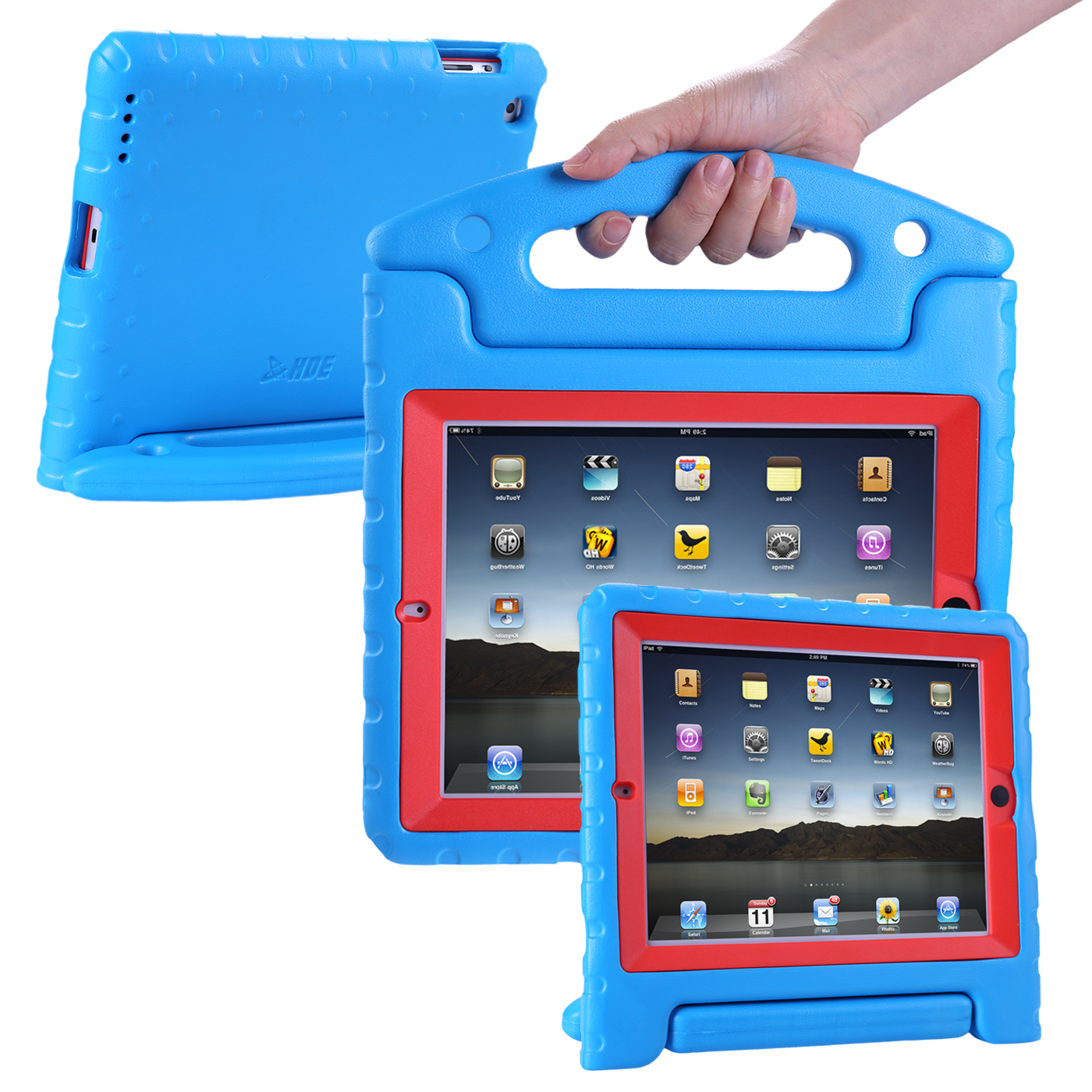 HDE iPad 2 3 4 Bumper Case for Kids Shockproof Hard Cover Handle Stand with Built in Screen Protector for Apple iPad 2nd 3rd 4th Generation (Blue Red)