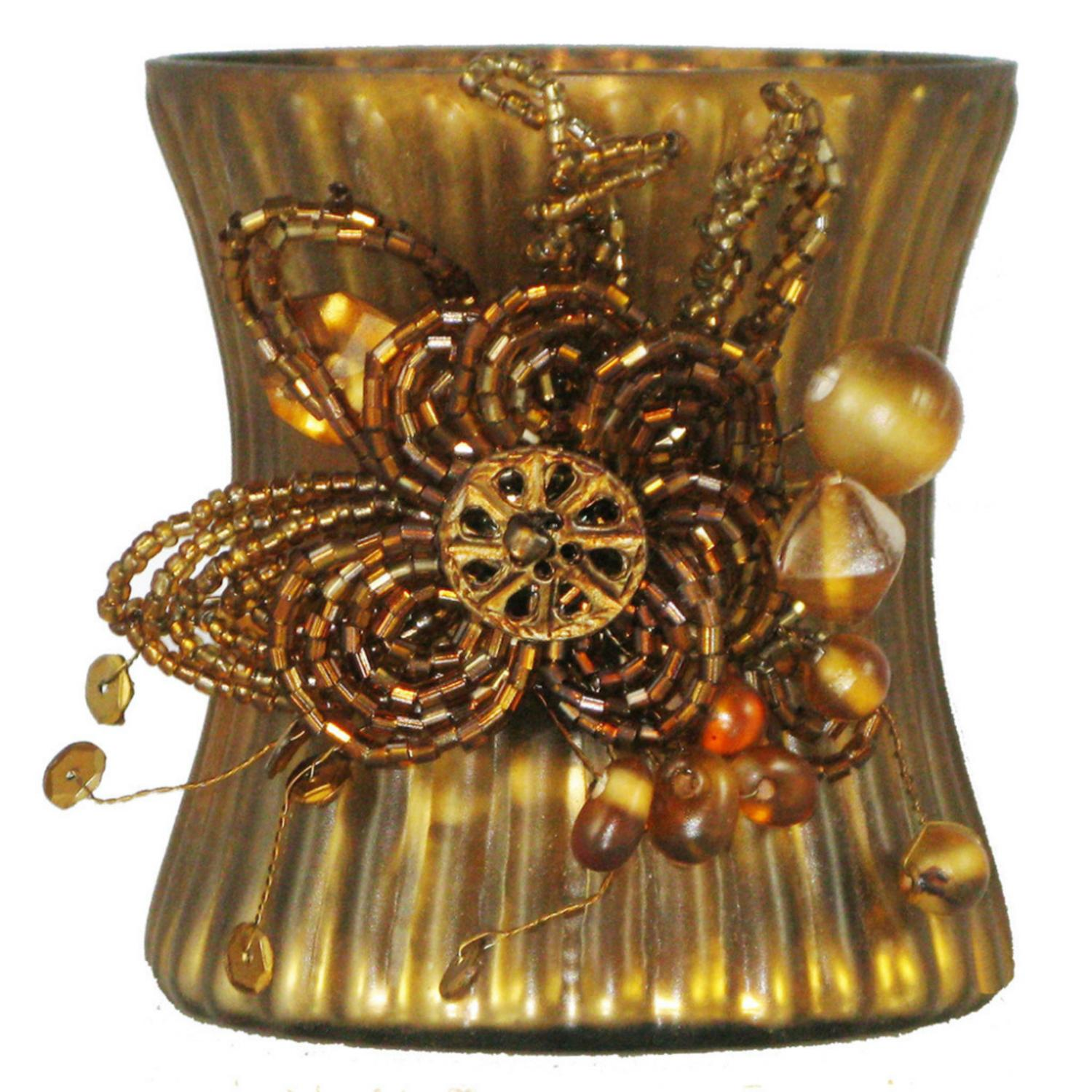 """Set of 2 Amber Mercury Glass Votive Candle Holders with Beaded Clusters 3.5"""""""