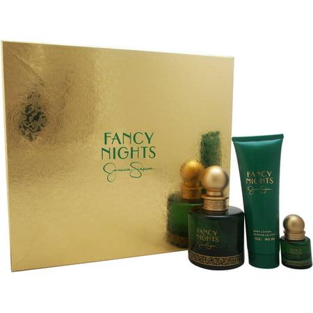 Fancy Nights par Jessica Simpson pour les femmes - 3 Pc Gift Set spray EDP 3,4 oz, 0,25 oz EDP vaporisateur, 3 oz Lotion pour le corps