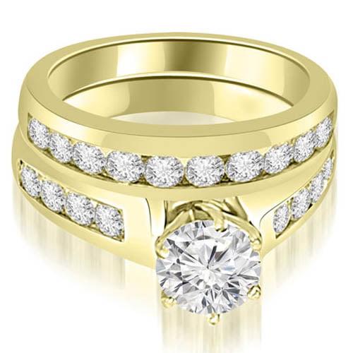 """1.90 cttw. 14K Yellow Gold Channel Set Round Cut Diamond Bridal Set (I1, H-I)"""