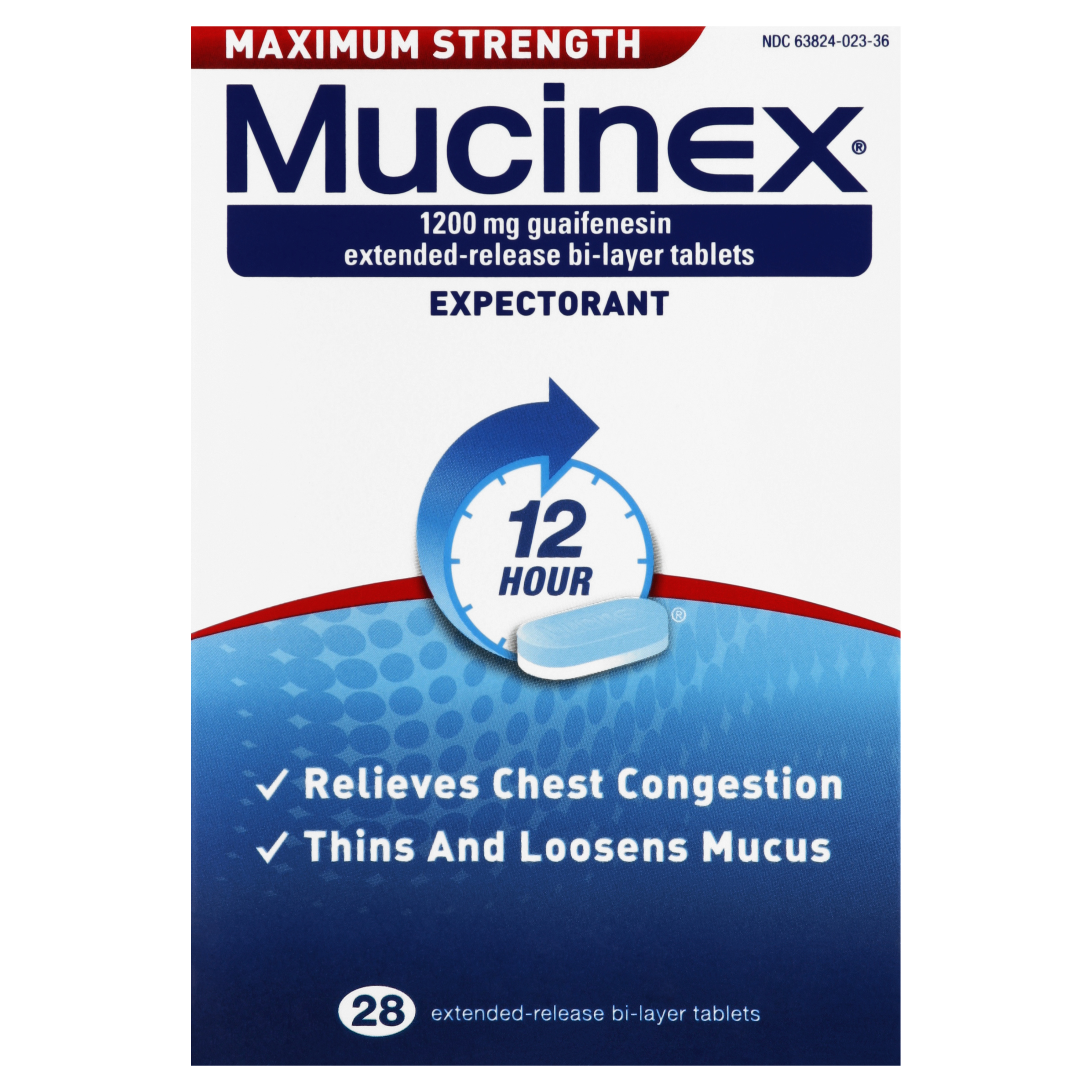 Mucinex Maximum Strength 12-Hour Chest Congestion Expectorant Tablets, 28 Count