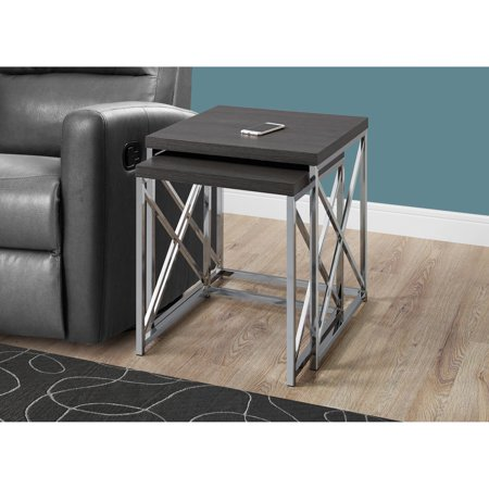 Monarch Nesting Table 2Pcs Set / Grey With Chrome Metal