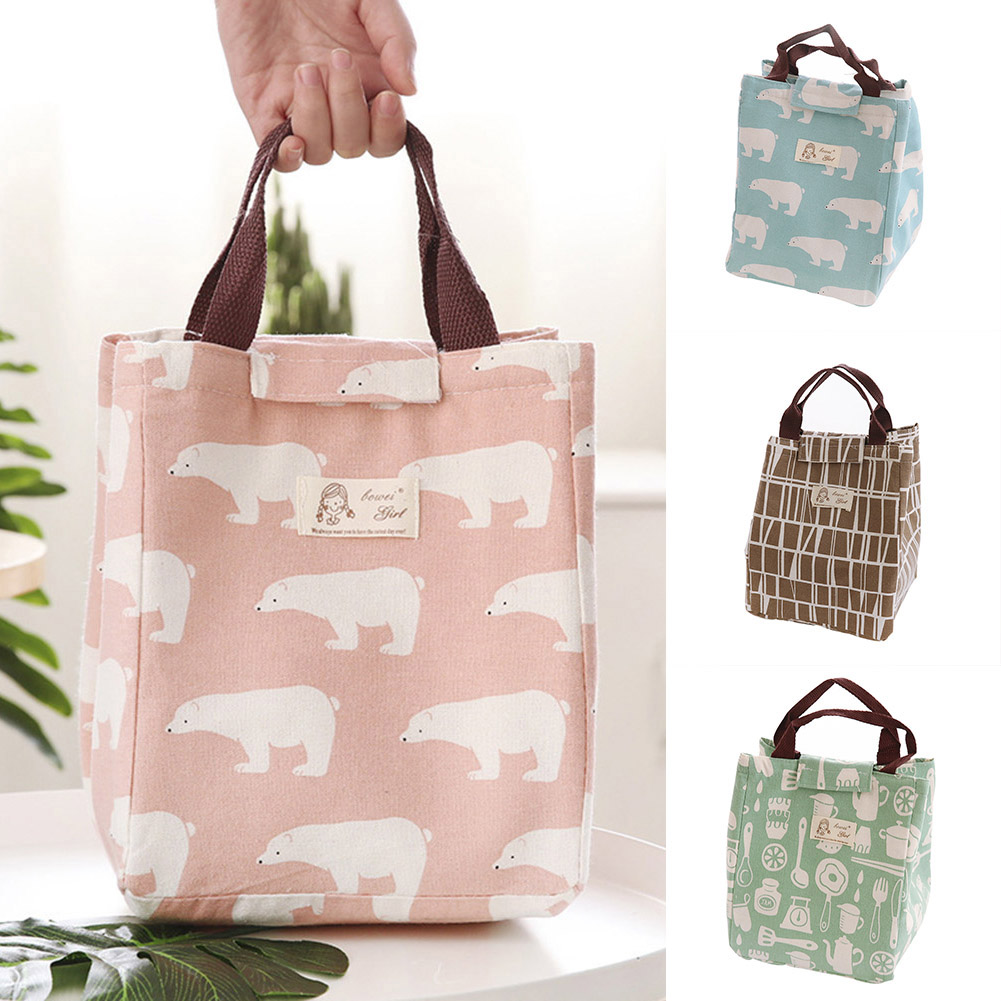 Moderna Portable Lovely Bear Flamingo Insulated Drawing String Lunch Bag Picnic Pouch