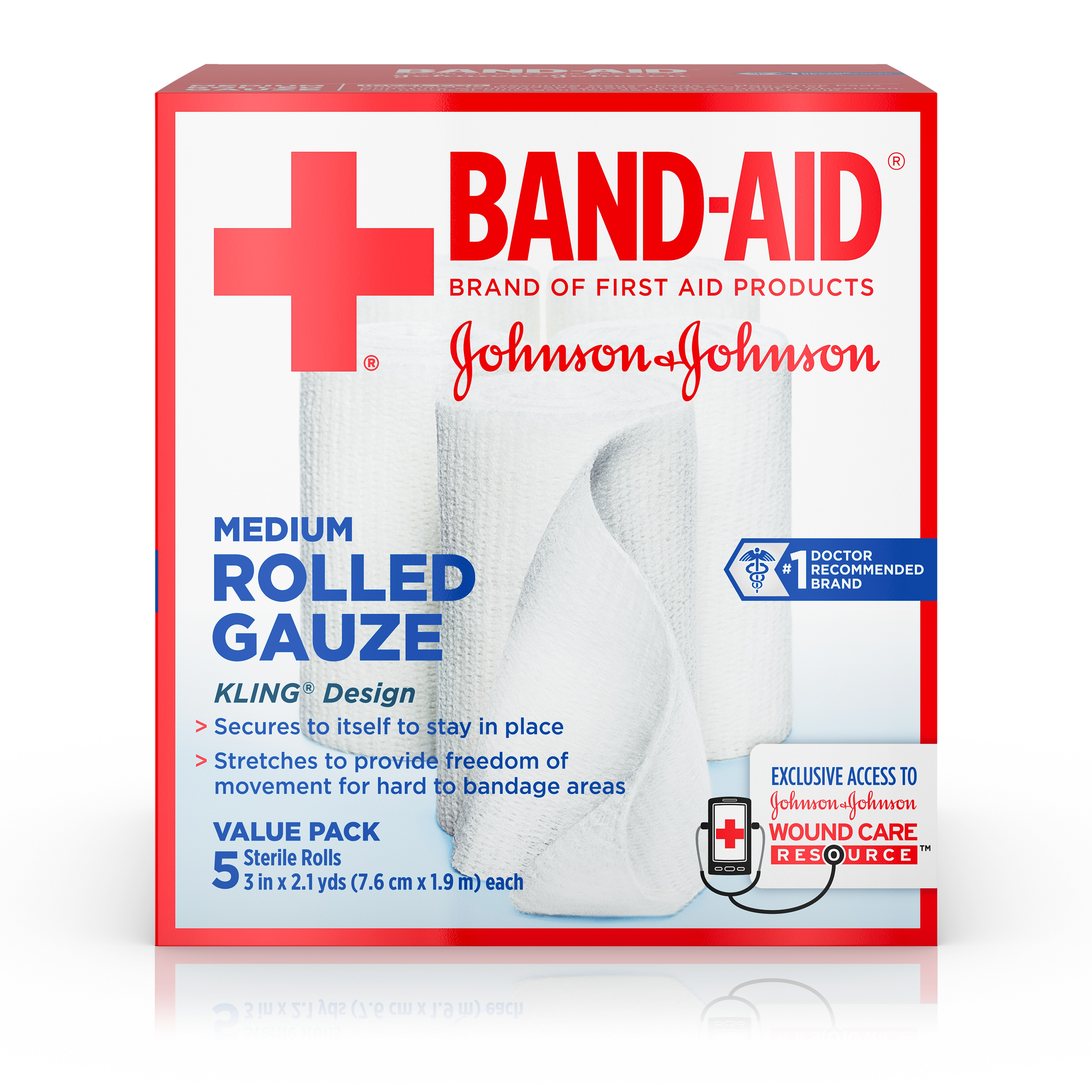 Click here to buy BAND-AID Brand of First Aid Products Rolled Gauze, Minor Wound Care, 3 Inches by 2.1 Yards, 5 Count Value Pack by Johnson & Johnson.