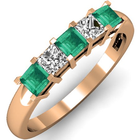 0.75 Carat (ctw) 18K Rose Gold Princess Cut Green Emerald and White Diamond Ladies 5 Stone Bridal Wedding Band Anniversa