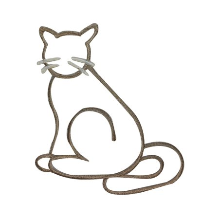 ID 2946 Cat Silhouette Patch Kitten Outline Craft Embroidered Iron On -