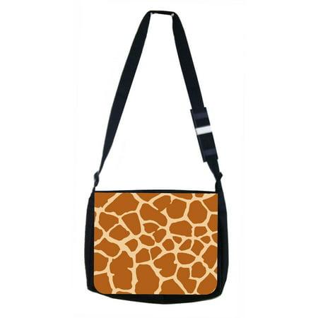 Giraffe Print Black Laptop Shoulder Messenger
