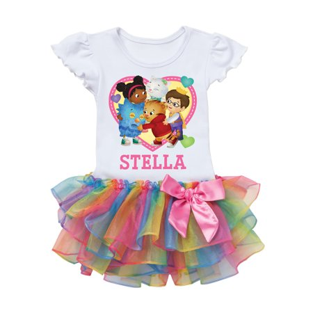 Daniel Tiger and Friends Toddler Heart Personalized Rainbow Tutu Tee - 2T, 3T, 4T, 5/6T (Daniel Tiger Dress)