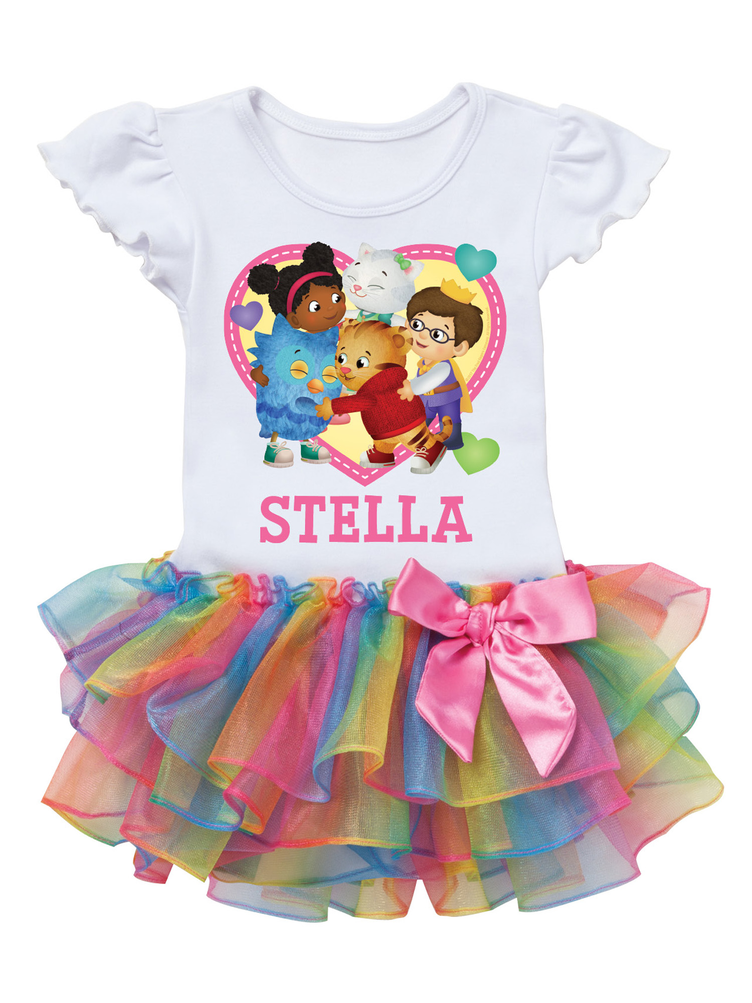 Daniel Tiger and Friends Toddler Heart Personalized Rainbow Tutu Tee - 2T, 3T, 4T, 5/6T