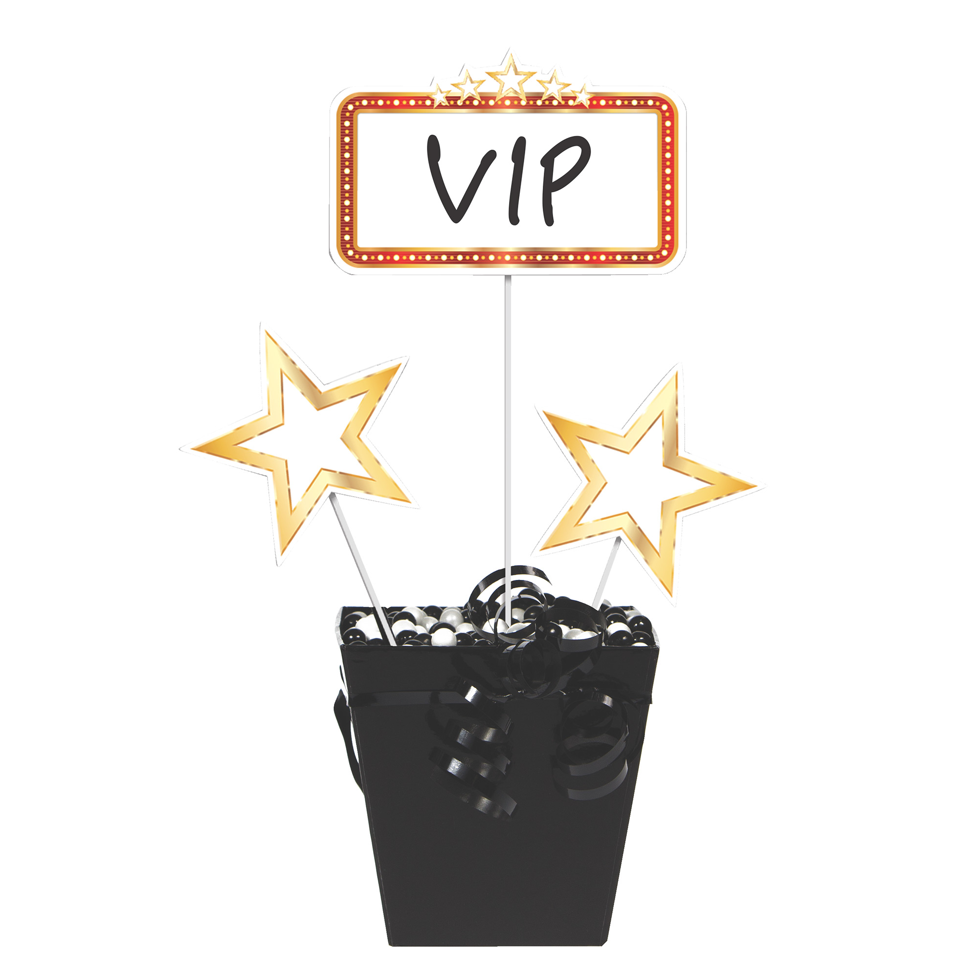 """Hollywood Lights 14 1/2"""" x 6"""" Marquee, 13 1/2"""" x 6"""" Gold Star Centerpiece Sticks/Case of 18"""