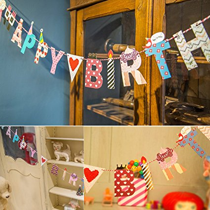 eZAKKA Happy Birthday Paper Bunting Banner with Colorful Letters for Birthday Party, 78 inches - Happy Halloween Birthday Party