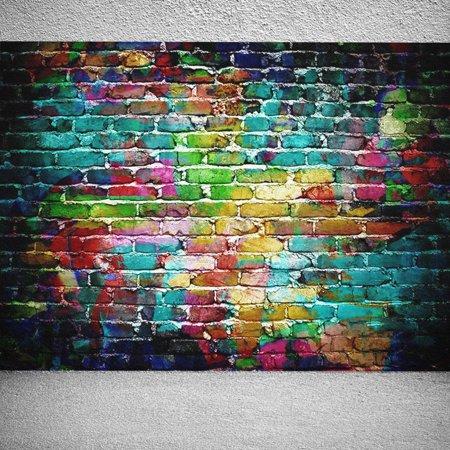 7x5FT Photography Vinyl Fabric Backdrop Background Retro Vintage Colorful Brick Wall Photo Studio Props