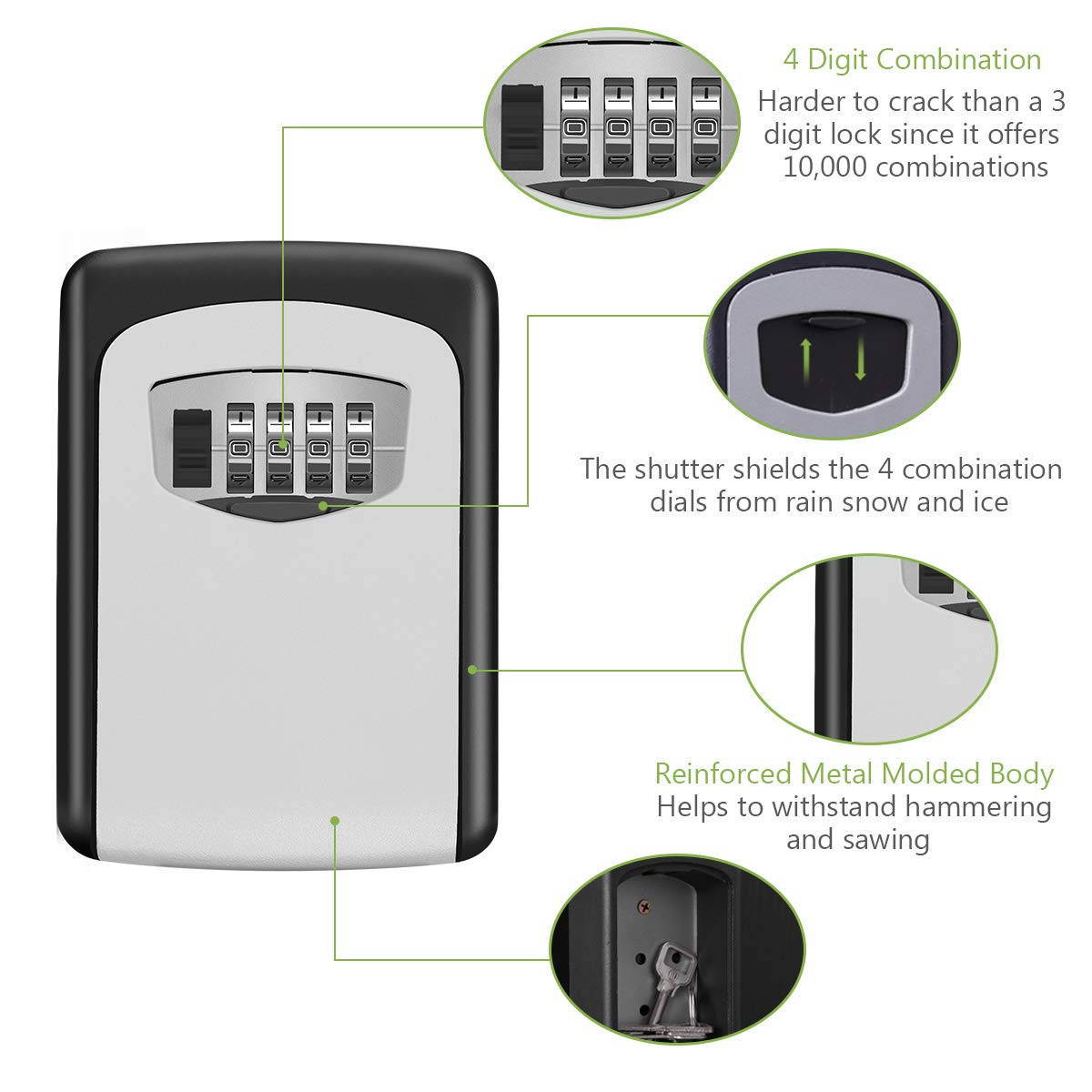Details about  /Wall Mounted 4-Digit Combination Key Lock Box Security Storage Case Organizer B