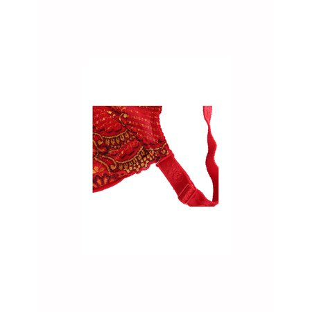 Women Floral Lace Front Scalloped Push Up Thin Cup Wireless Bra Red 85C - image 2 of 6