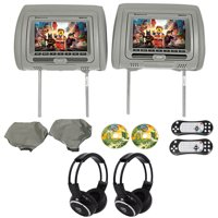 "Rockville RVD721-GR 7"" Gray Dual DVD/USB/HDMI Car Headrest Monitors+Headphones"