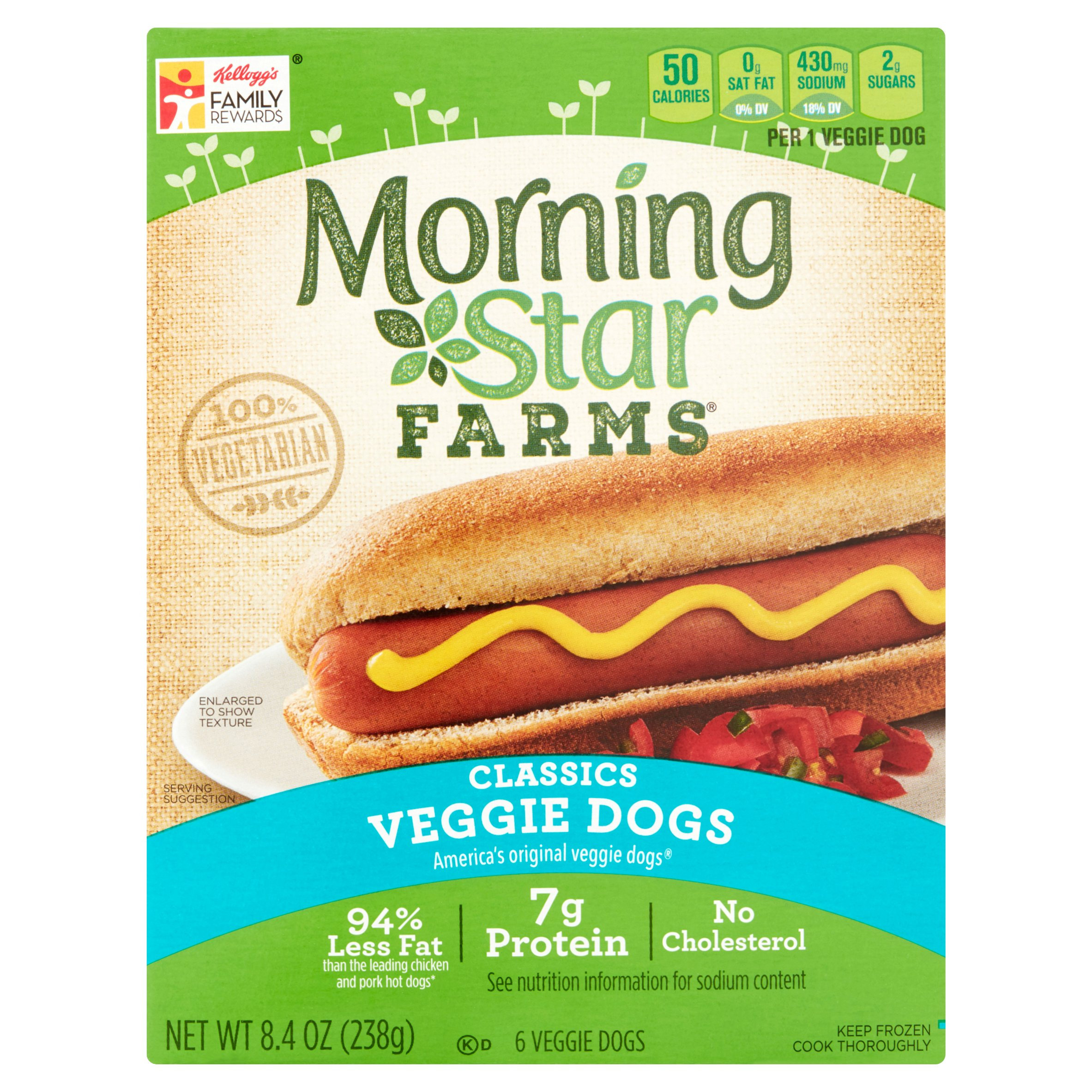 Morning Star Farms Classics Veggie Dogs, 6 count, 8.4 oz