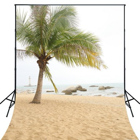 HelloDecor Polyster 5x7ft Beach Seaside Summer Theme Travel Portraits Photography Backdrops Indoor Studio Backgrounds Photo Props (Beach Themed Photo Props)