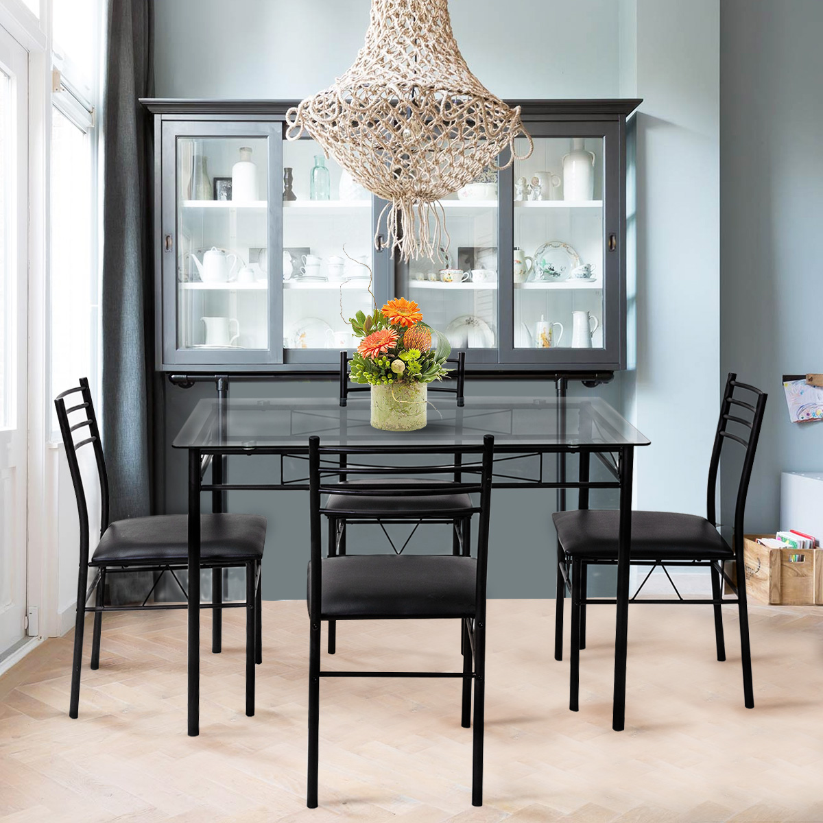 Gymax 5 Piece Dining Set Glass Top Table & 4 Upholstered Chairs...