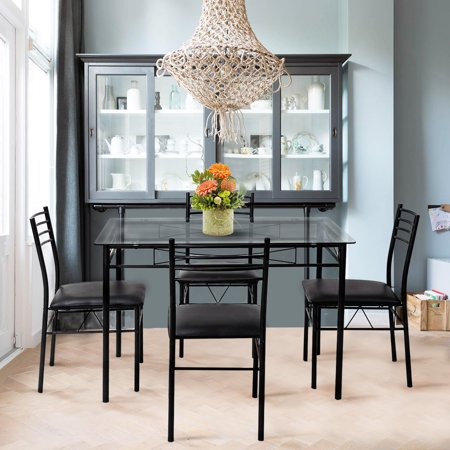 Gymax 5 Piece Dining Set Glass Top Table & 4 Upholstered Chairs Kitchen Room Furniture ()
