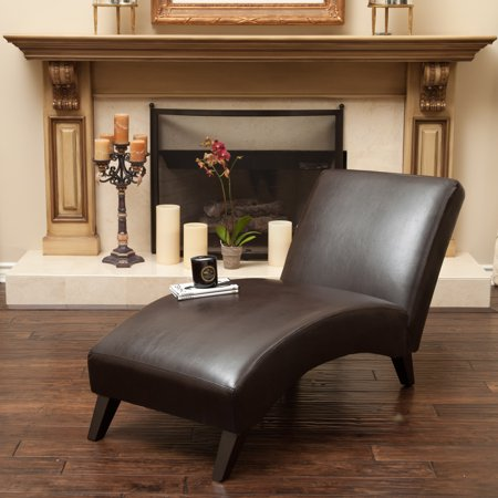 Brown Leather Chaise - Gabriel Chaise Lounge