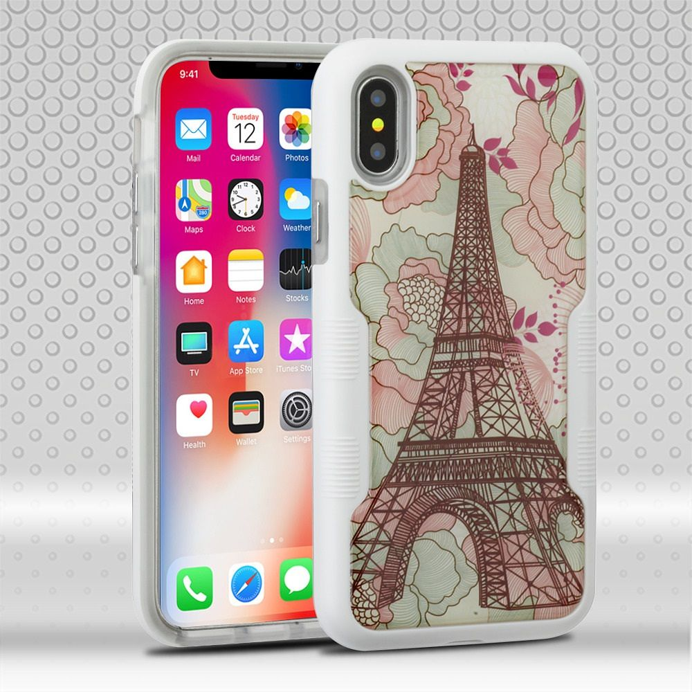 iPhone X Case, by Insten Tuff Eiffel Tower Dual Layer [Shock Absorbing] Hybrid Hard Plastic/Soft TPU Rubber Case Cover For Apple iPhone X, Multi-Color+ BasAcc Charger Cable Charging Cord White - image 3 of 3