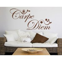 Carpe Diem Quote with Flowers Wall Decal - Wall Sticker, Vinyl Wall Art, Home Decor, Wall Mural - 1726 - 16in x 8in, White
