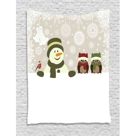 - Christmas Tapestry, Snowman and Owls in Snowy Winter Day with Jingle Bells and Snowflake Figures Image, Wall Hanging for Bedroom Living Room Dorm Decor, Multi, by Ambesonne