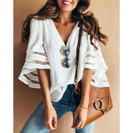 - Women Summer Loose Casual Short Sleeve T-Shirt Cotton Blouse Tops T-Shirt White Size S