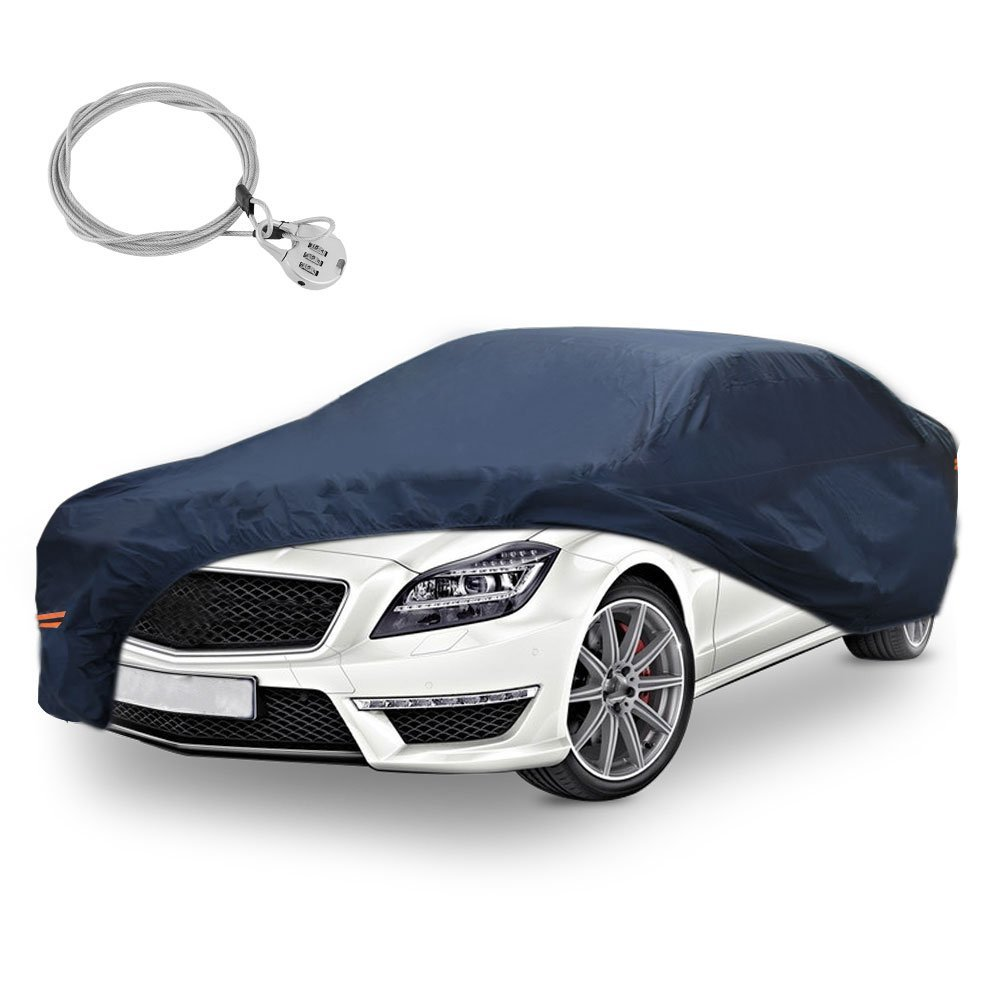 Universal Fit Car Cover All Weather Breathable Full Waterproof Antiscratch Windproof Heat Sun UV Snow Rain Dust Resistant With Lock Outdoor Indoor(Fits up to 224 Inches, PEVA, Dark Blue)