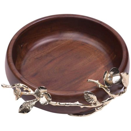 Decozen The Milli Collection Acacia Wood Large Round Bowl Brass Base and Detailing Branch Decoration Smooth Edges Enough Holding Capacity Wood Serving Bowl For Restaurant Café Home Kitchen