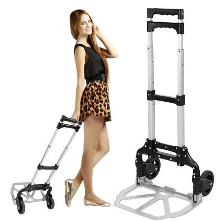 Luggage Cart (Portable Folding Hand Truck Hand Carts Luggage Carts,150 lbs Capacity Silver)