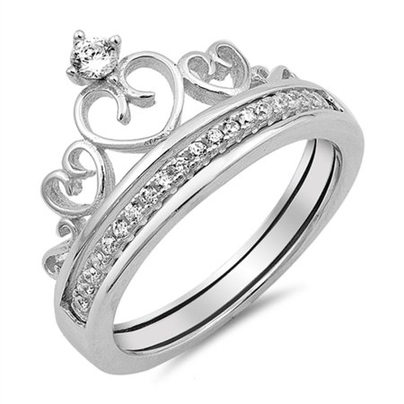 Crown Heart Tiara White CZ Promise Ring ( Sizes 5 6 7 8 9 10 ) New .925 Sterling Silver Band Rings (Size 10)